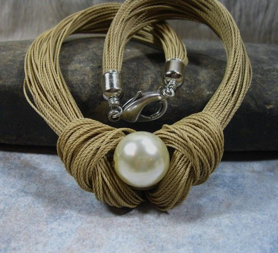 Annie's French Knotted Necklace Cotton Cord by stoneandsterling, $43.00