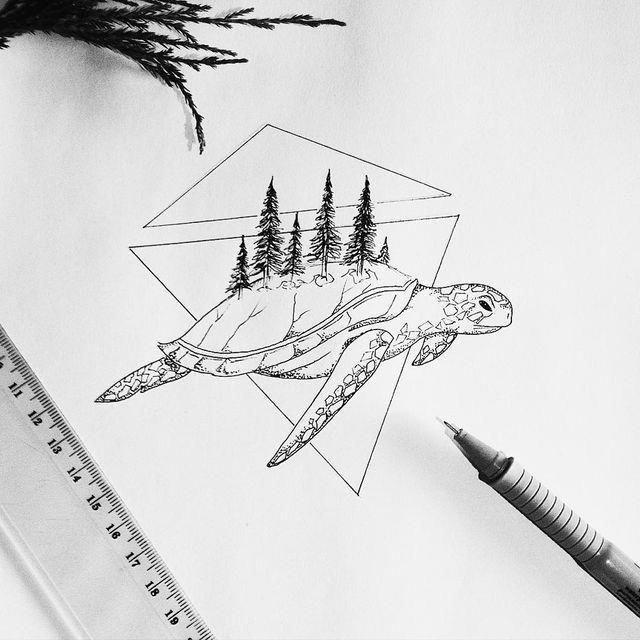 картинки черной ручкой черепашки интерьера деревом