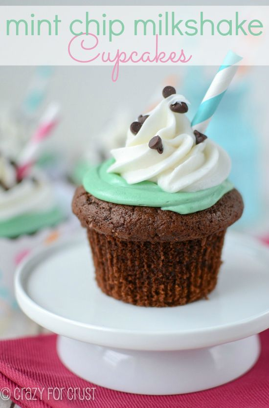 Mint Chip Milkshake Cupcakes are filled with mint chip ice cream and topped with mint chip frosting!