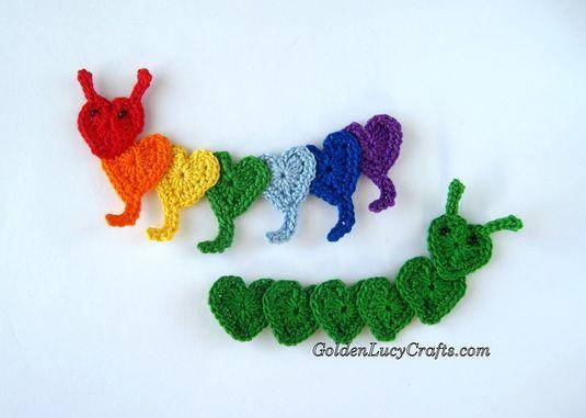 Crochet Caterpillar Applique Motif By Elena - Free Crochet Pattern - (goldenlucycrafts)