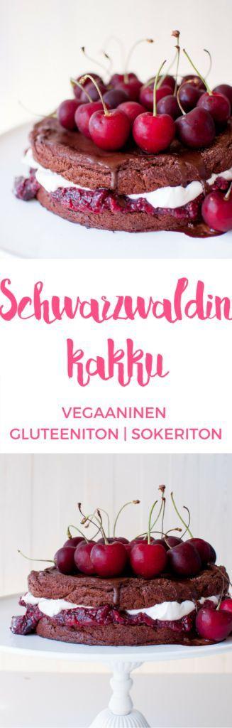 Vegaaninen, gluteeniton ja sokeriton Schwarzwaldin kakku