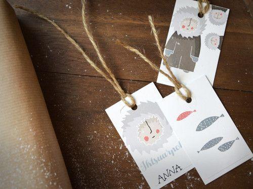 Eskymácké štítky na dárky - sada 3 ks