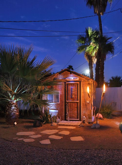 Backyard Tiki Hut » Might have to do this to the shed in the backyard...