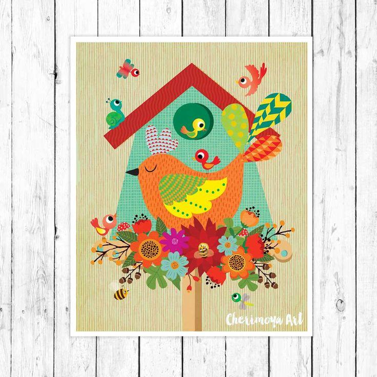 Birds and Flowers Art Print Wall Art Print Girl's Room Decor Art Illustrations for Girls Room Decor Prints for Girls flowers Print Birds by CherimoyaArt on Etsy
