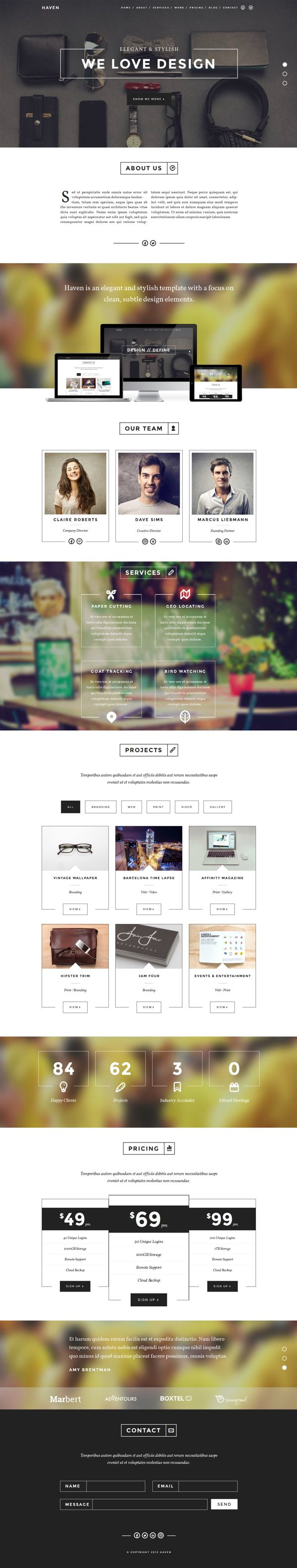 Elegant & Stylish OnePage Theme by WordPress Design Awards, via Behance
