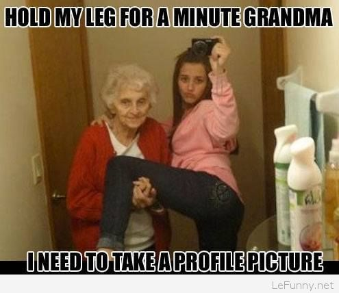 Funny facebook profile picture with grandma | Funny Pictures | Funny Quotes | Funny Jokes – Photos, Images, Pics