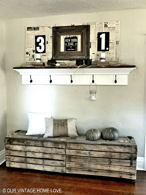 pallet entry way bench .. and I <3 that shelf above. What a rustic addition