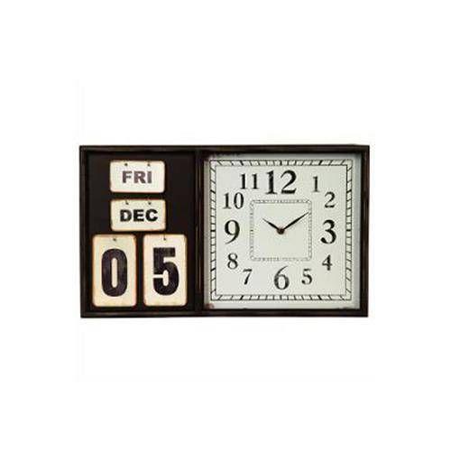 Pendule calendrier en bois et métal Nécessite 1 pile LR6 non fournie   Dimensions : D 36 x 7,5 cm Décoration