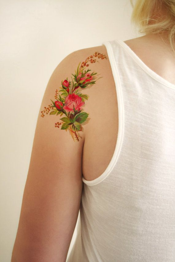 Floral vintage temporary tattoo design van Tattoorary op Etsy