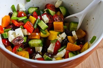 ... for Chopped Greek-Style Salad with Red, Yellow, and Orange Bell Pepper
