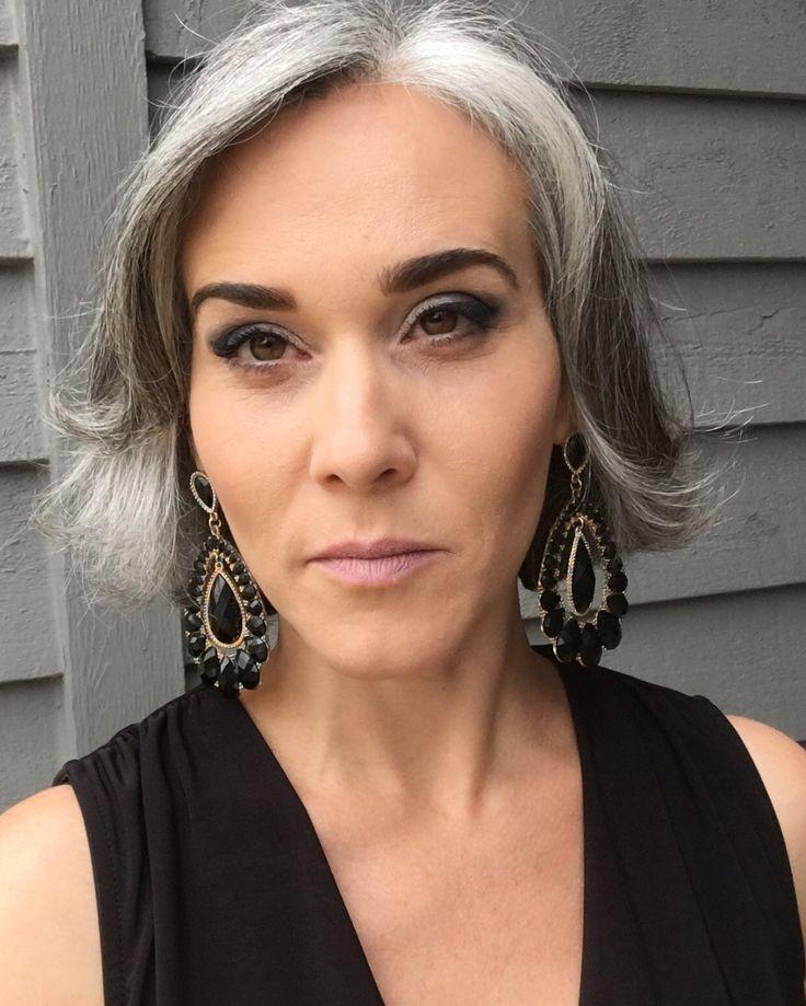 Salt and pepper gray hair. Grey hair. Silver hair. White hair. Granny hair. No dye. Dye free. Natural highlights. Aging and going gray gracefully. Short hair.