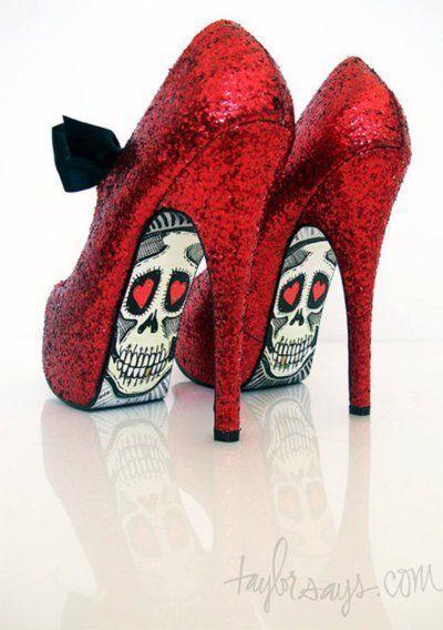 Red sugar skulls high heels - Skullspiration.com - skull designs, art, fashion and more