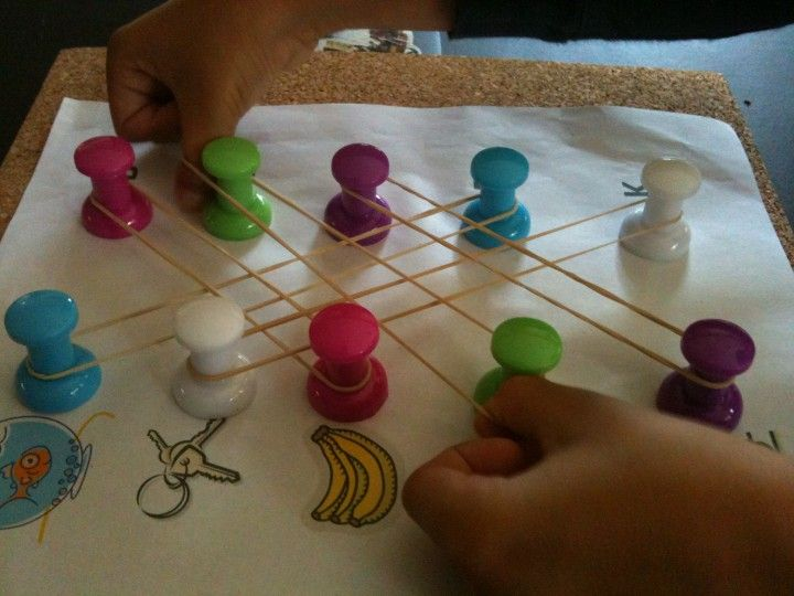 Use large push pins and rubber bands for matching worksheets. Works on concept…