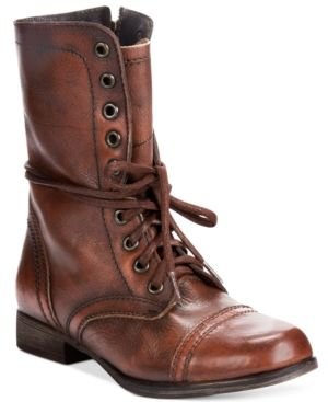 The Steve Madden Troopa Boots march to their own beat with the vintage-inspired styling of menswear-inspired details and modern attitude. | Leather upper; manmade sole | Boot with lace-up decor and si
