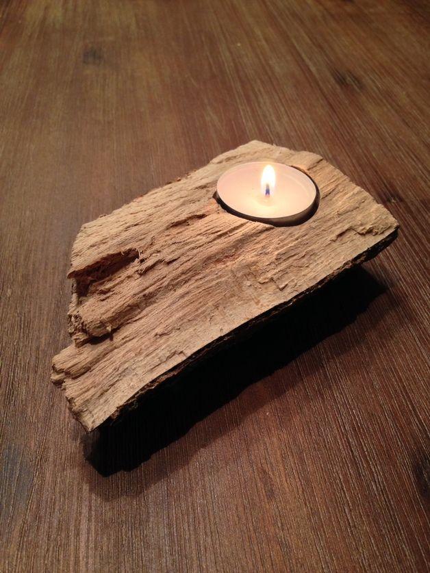 Kerzenständer - Kerzenständer Naturholz für 1 Teelicht - ein Designerstück von Folienmanufaktur bei DaWanda