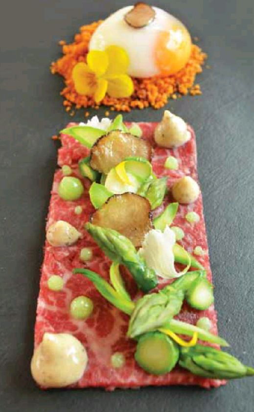 Wagyu Carpaccio-Asparagus-Truffle-Slow Cooked Egg; Noel Ng - The ChefsTalk Project