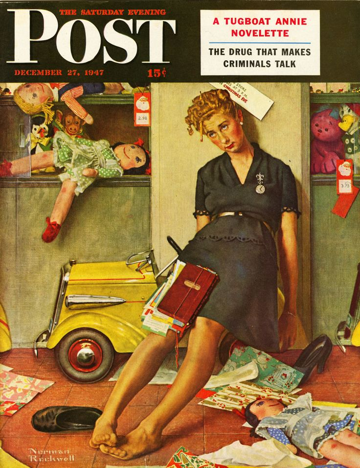Santa's Helper. Saturday Evening Post, December 27, 1947 (Norman Rockwell)