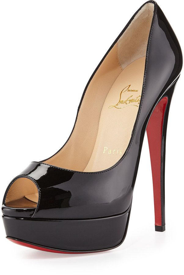 Lady Peep Patent Red Sole Pump, Black by Christian Louboutin at Neiman  Marcus. If I could have any this 1 Mens New Years Eve Outfit