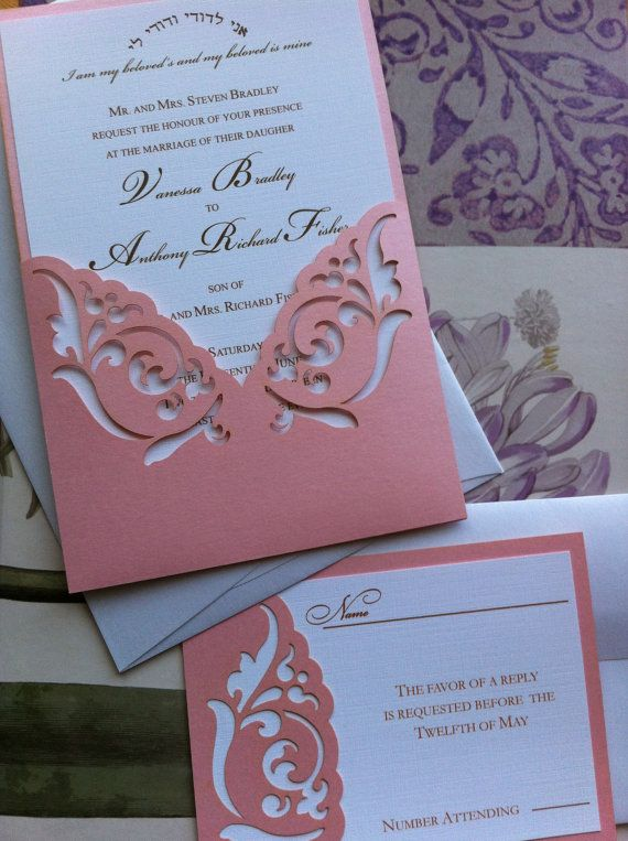 Wedding Invitation Laser Cut elegant damask by CelineDesigns