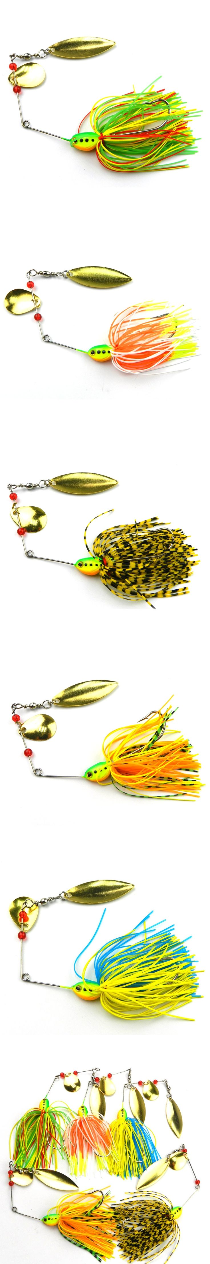 Hot Selling 5Pcs/Lot 3D Eyes Rotating Fish-type Sequined Beard Lures Noisy Bait Buzz bait Composite Bait Target for Catfish Bass
