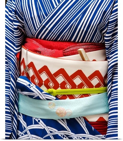 Close up of geiko's obi-The colors are so classic and refreshing