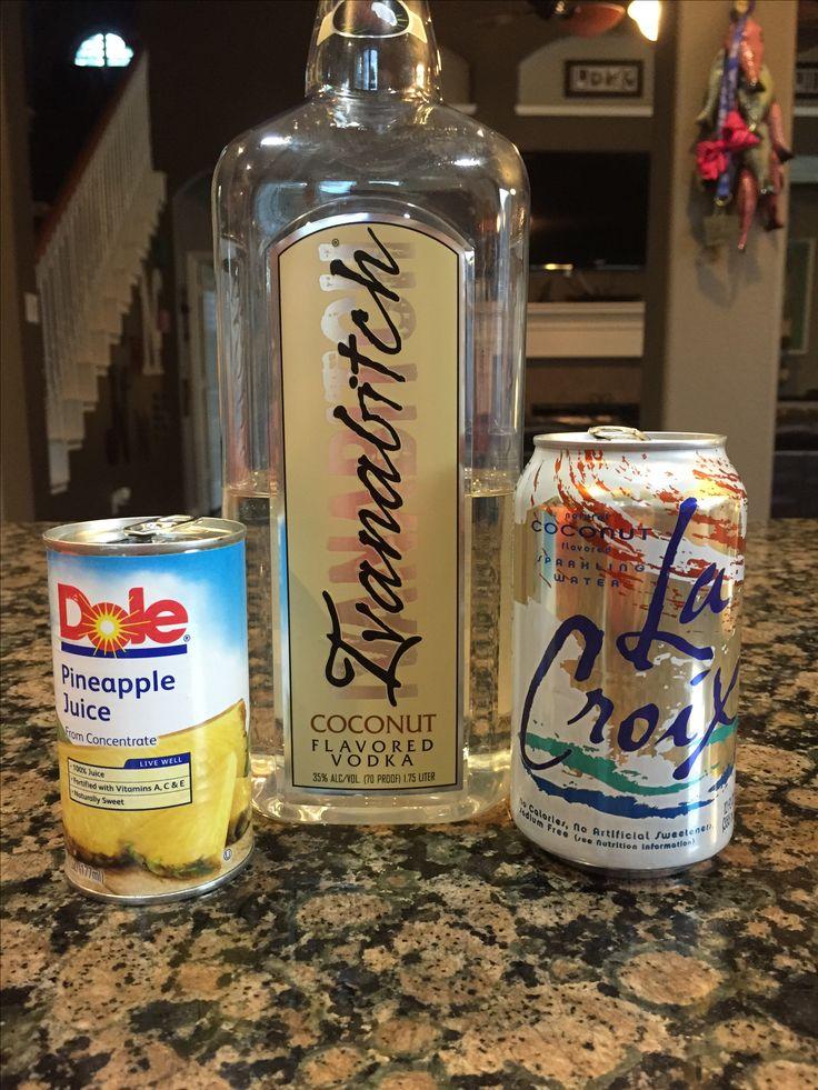 Pina Croixlada ~ 6 oz coconut La Croix, 3 oz pineapple juice, 1.5 oz Ivanabitch coconut vodka. About 119 calories.