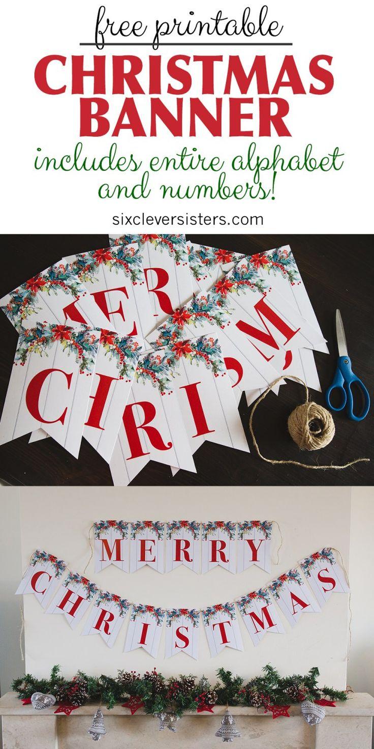 6 kostenlose druckbare Weihnachtsschilder – sechs clevere Schwestern   – Christmas