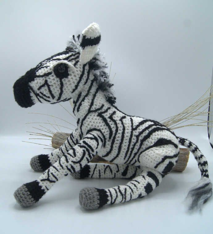 Zebra Amigurumi/Crochet Zebra Stuff Animal/Zebra Art by CreativeCrochetbyChris, $49.95 USD