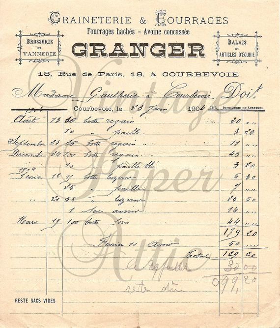26 best Antique French Documents images on Pinterest Vintage - written invoice