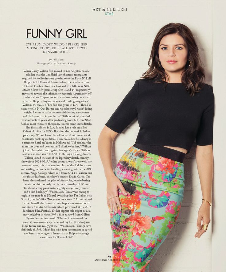 "Happy to shoot Casey Wilson for Angelino Magazine October 2014 issue out now. (Starring in this falls new series ""Marry Me"" on NBC)"