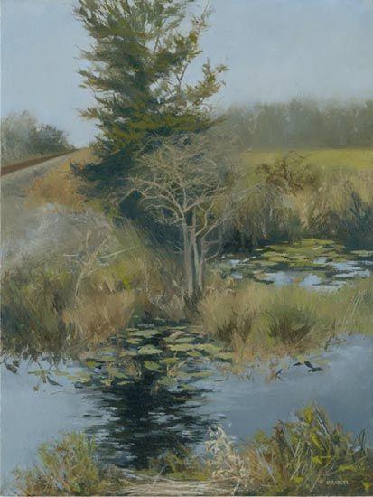 "Denise Antaya - By the Tracks Oil on prepared birch panel  8"" x 10"""
