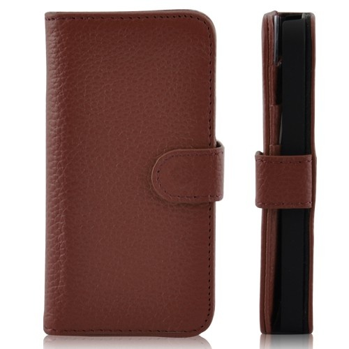 Wallet Shaped Magnetic Leather Case for iPhone 5-Brown