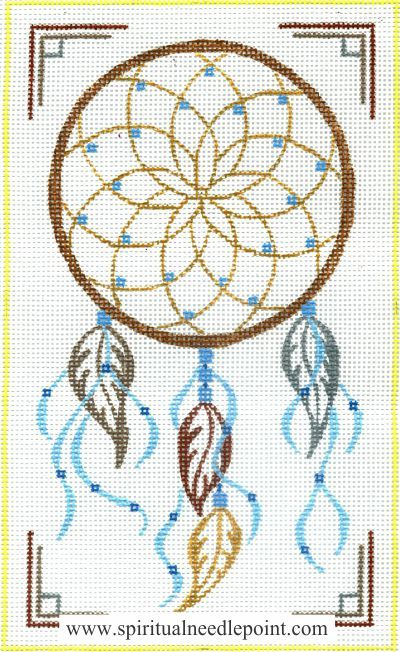 "Spiritual needlepoint - Dreamcatcher, hand-painted, 6"" x 10"" on 13 mesh canvas, made in Sedona, Arizona"