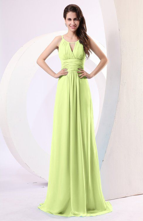 Lime Green Simple Column Scoop Chiffon Ruching Bridesmaid Dresses