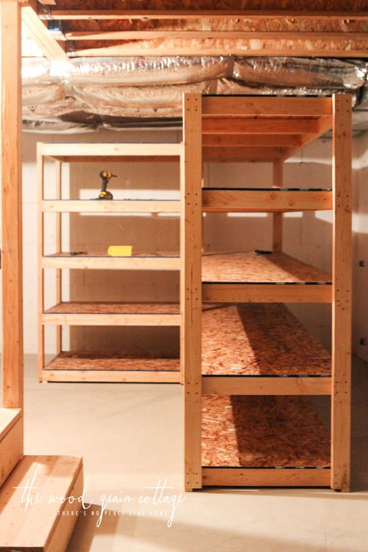 DIY Basement Shelving by The Wood Grain Cottage