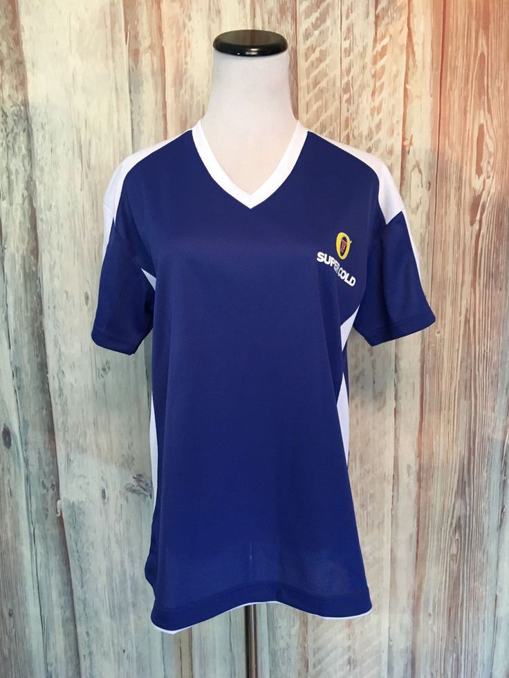 Women's Fosters Beer Lager Jersey Tee Shirt Mesh V Neck Blue White sz L EUC! #Fosters #Jersey