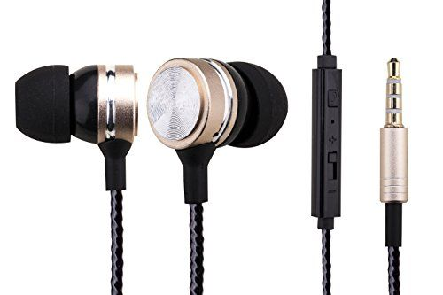 Woozik WZ10 InEar Noise Isolating Heavy Bass Headphones with Mic Volume Control and Answer Button for Apple Iphone 66s and Android Galaxy Gold -- Check this awesome product by going to the link at the image.