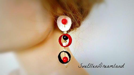 SALE Silk cocoon earrings hoop earrings fait a la main