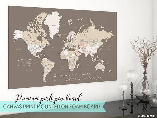 330 best blursbyais new art prints canvas prints push pin boards premium push pin board world map with cities in earth tones we travel not gumiabroncs