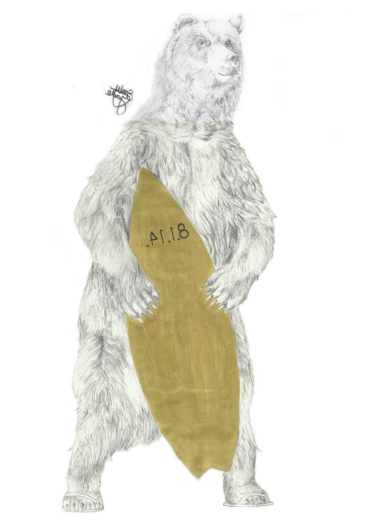 An illustration I designed for a t.shirt for a friends birthday gift. Surfing Bear. Emily Jade