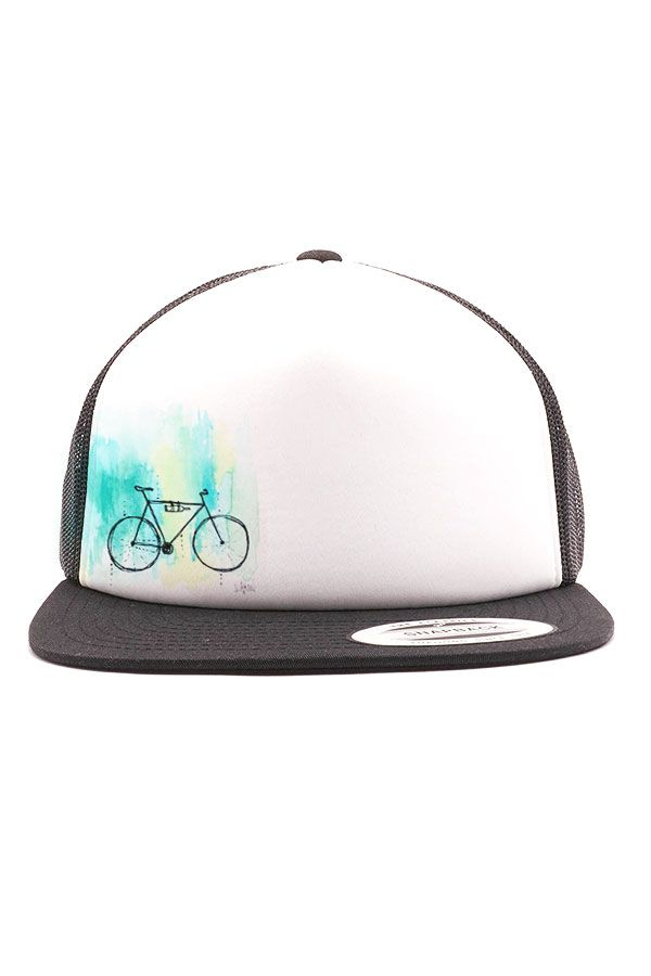 Blackand white trucker hat withour commuter bikewatercolor artwork printed on front. Original artwork by Akinz founder, Suzanne Akin. Flat bill style ca