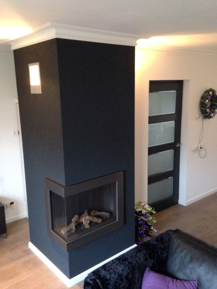 another angle of the fireplace and the door to the living room painted ral 7016