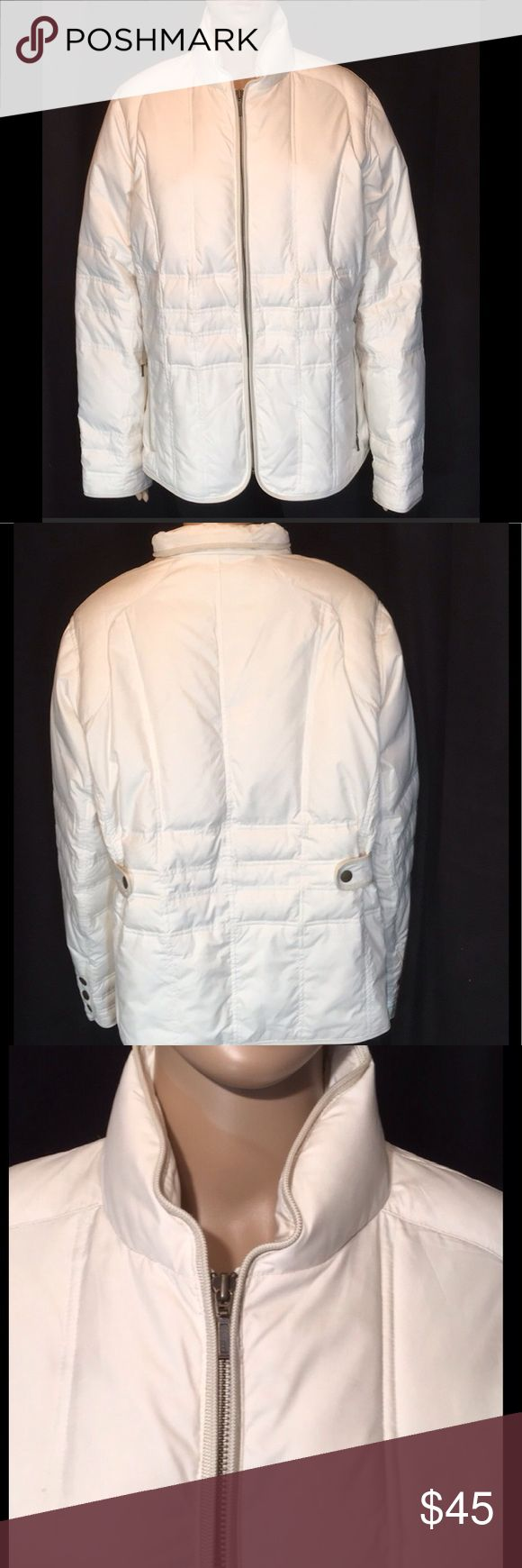 "Eddie Bauer Quilted Goose Down  Coat 50"" Bust Firm 50"" Bust. Length 26"".Sleeves are 25"". The size tag has been removed. I am between a 1X and a 2X and it fits me perfectly. Please look at the measurements to make sure that it will fit you. It is soft, wonderfully warm and in excellent condition and comes from my non smoking home Eddie Bauer Jackets & Coats Puffers"