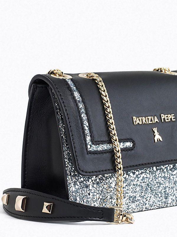 Patrizia Pepe Borsa Mini Pochette in pelle e glitter con tracolla silver #saldo 30%