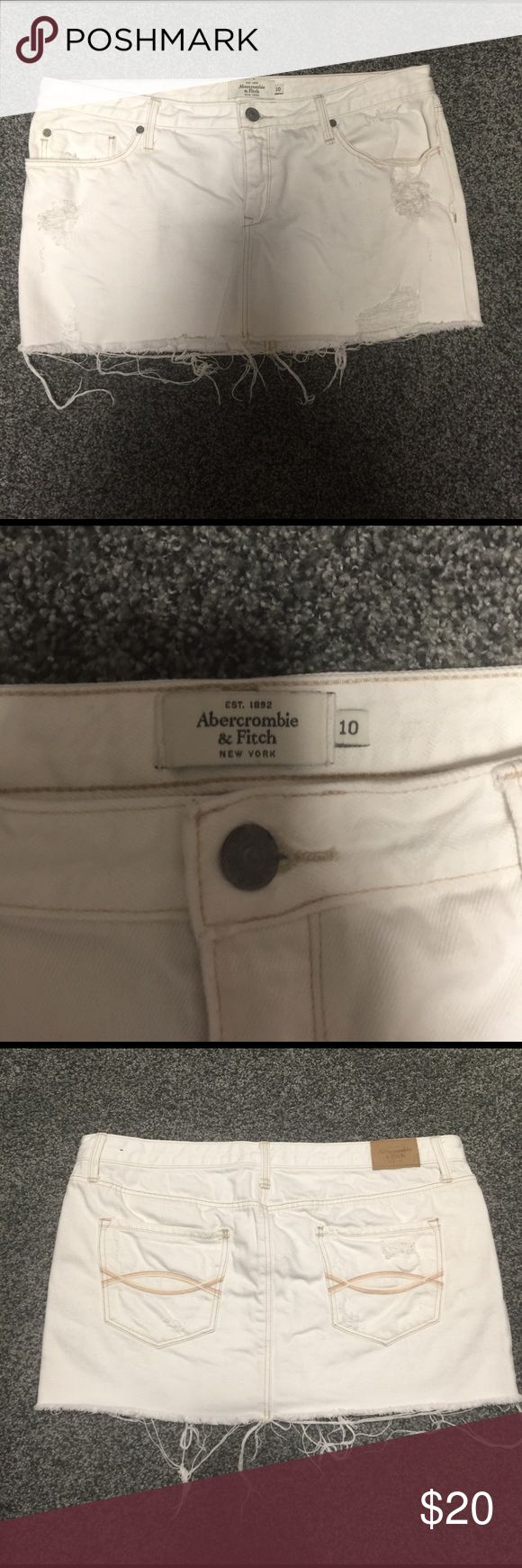 Abercrombie and fitch skirt White distressed denim skirt in excellent condition only worn 1-2 times. Abercrombie & Fitch Skirts Mini