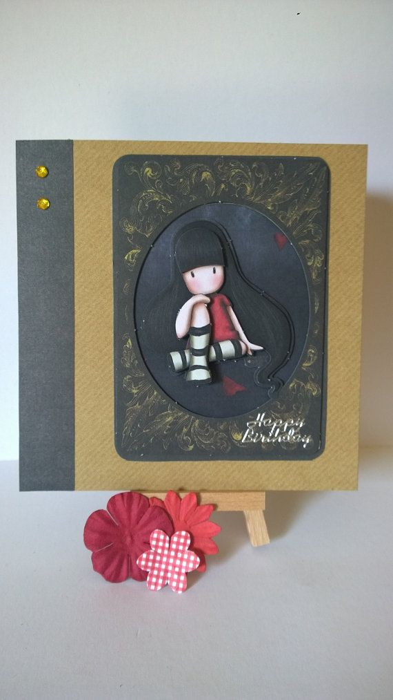 Handmade decoupaged sitting girl in red dress by Lazymitts on Etsy