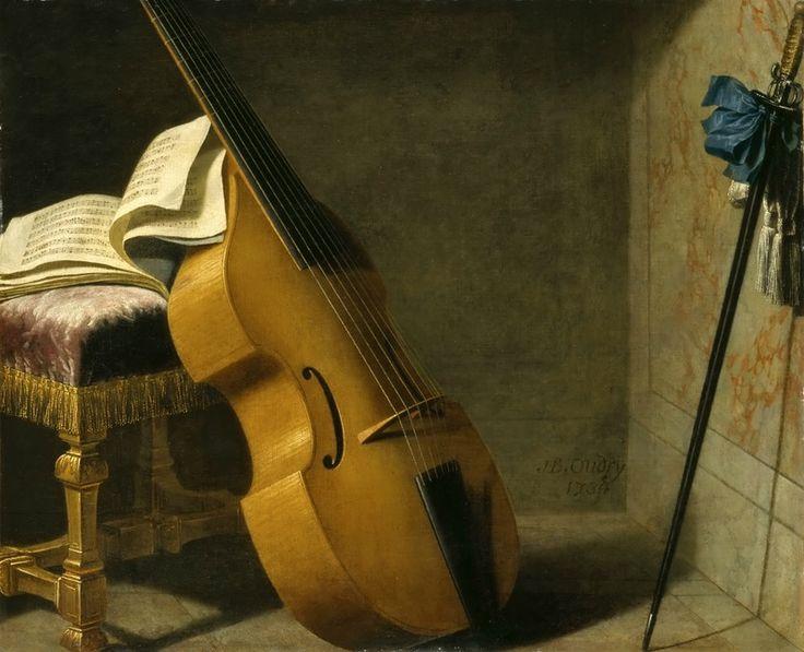 Бойе, Мишель (1668 Ле Пюи - 1724 Париж) -- Контрабас, нотная тетрадь и меч