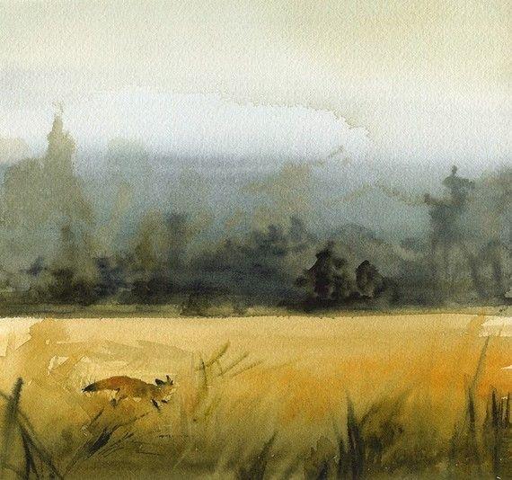 "landscape painting, gold, ochre, grey, decor, watercolor, ""March Fox"" Archival Print"