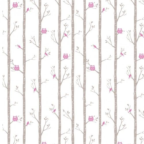 Forest Owls Wallpaper in Pink by BC Magic Wallpaper.