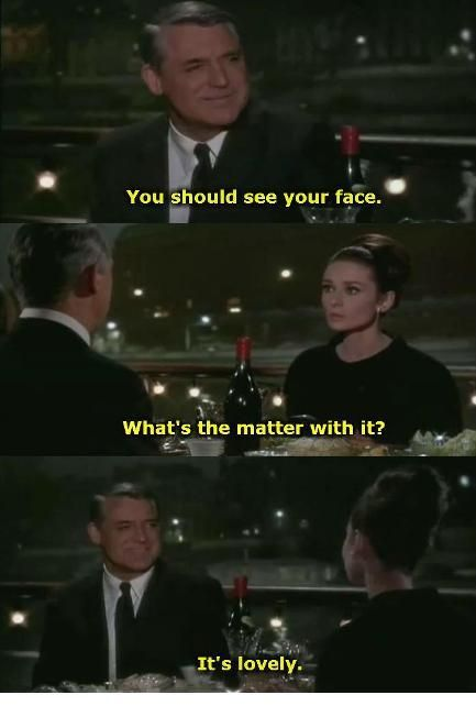 Charade - Things you should say to women - Cary Grant and Audrey Hepburn...so cute